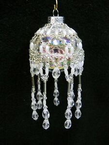 """PATTERN ONLY Beaded Christmas Ornament Cover Holiday Original """"Victorian Drape"""""""