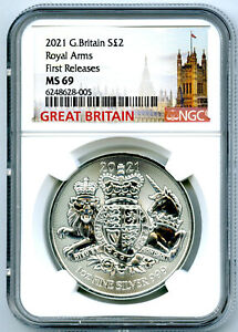 2021 2PD GREAT BRITAIN 1OZ SILVER NGC MS69 ROYAL ARMS FIRST RELEASES TOP GRADE