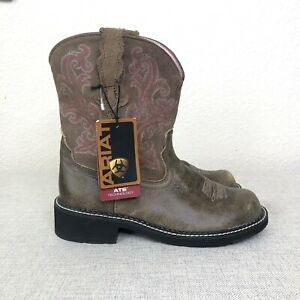 NWT Ariat Women's Western Boots Sz 10 Fatbaby  Brown Pink Embroidered Round Toe