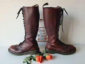 Dr Doc Martens 1b60 tall zip 20 eye hole red oxblood knee high boots UK7 EU41
