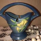 ROSEVILLE 390-7 POTTERY ZEPHYR LILY BLUE ART DECO POTTERY BASKET / VASE