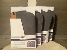 """American Tourister TRAVEL WALLET GRAY WITH TAN NEW 5"""" X 7.5"""" ZIP UP GREAT GIFT"""