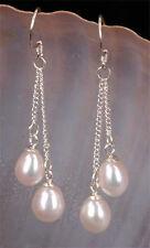Fashion Women's 6-7mm White Freshwater Pearl Chain Silver Hook Dangle Earrings