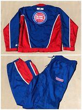 Vtg Detroit Pistons Starter Nylon Jacket & Pants Warm Up Set Suit Big Logo Sz L