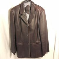 Womens Preston & York 100% Brown Lamb skin leather jacket GUC Large