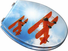 EUROSHOWERS Toilet Seat Resin Novelty Toilet Seats with chrome hinges Aeroplane