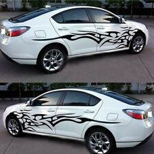 Black Custom Side Body Stripes Flame Graphics Racing Car Vinyl Sticker Decal