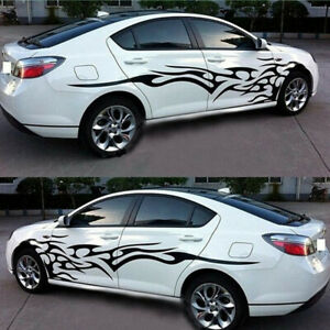 Black Custom Side Body Stripes Flame Graphics Racing Car Vinyl Sticker Decal