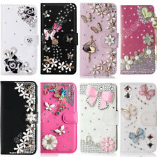Luxury Crystal PU Leather Flip Slots Wallet Case Diamonds Bling Cover For Sony