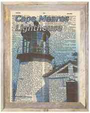 Cape Meares Lighthouse Oregon Altered Art Print Upcycled Vintage Dictionary Page
