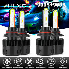 4x 9005 9006 RGB Car LED Headlight Driving Fog Bulbs Ballast Kit APP Control