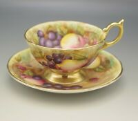 AYNSLEY BONE CHINA TEACUP SAUCER SET FRUIT ORCHARD HAND PAINTED GOLD FOOTED