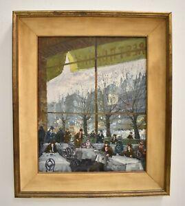 Parisian Restaurant Scene Oil Painting Signed Illegible