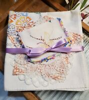 Corn Flower and the Butterfly Vintage Linens -  6 Piece Cutting/Crafting Bundle