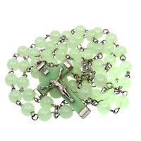 """Catholic Plastic Luminous Green Rosary Prayer Beads Glow in Dark Necklace 22"""""""