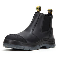 Work Boots for Men Steel Toe, Non-Slip Pull On Safety Shoes,Tumbled Leather Boot