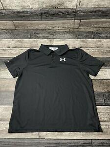 Under Armour Boys YXL Black Heat Gear Performance Golf Polo Short Sleeve Shirt