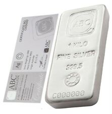 ABC Refinery 1 kg kilo .9995 Silver Bullion Cast Bar (with Certificate)
