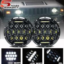 "Pair 7"" INCH CREE LED Headlight Halo Angle Eyes For Jeep Wrangler CJ JK LJ 97-18"