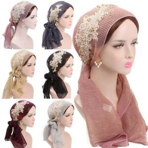 Women Muslim Hijab Cancer Chemo Hat Turban Cap Hair Loss Head Glitter Scarf Wrap