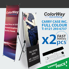 2 pcs of Printed X Banner 80x180cm -  Pop Up/Roll Up/Pull up Exhibition Display