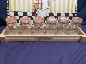 Kilner 6 Piece Glass Clip Top 70 ml Spice Jar Set with Wooden Crate Storage Rack
