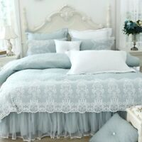Thickened Bedspread Lace Bedding Set King Size 4/8pc Duvet Cover Pillowcase