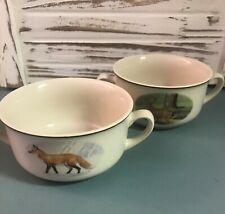 2 National Wildlife Federation Double Handle Soup Ceramic Bowls/Mugs Deer- Fox