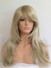 FULL LONG WOMENS LADIES FASHION HAIR WIG TWO TONE BLONDE MIX HEAT RESIST KWO5 UK