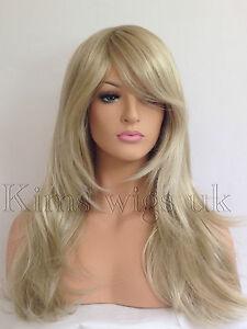 FULL LONG WOMENS LADIES FASHION HAIR WIG TWO TONE BLONDE MIX HEAT RESIST KWO5 UK
