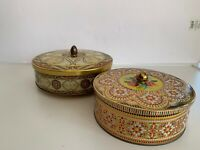 2 EUC VTG Round English Biscuit Tins Gold Embossed Floral Storage Canisters