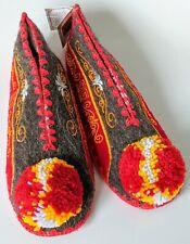 Luxury Unisex Greek Woollen Pompom Slippers UK6 EU39 Leather Sole. Red & Yellow