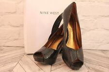 NINE WEST Black Snake Skin Leather High Heel Platform Court Pumps RRP £79 UK 5.5