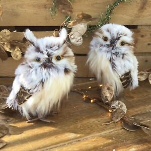 2 x 15cm Pointed Ear Plush Winter Owls Standing Christmas Tree Decoration Pair