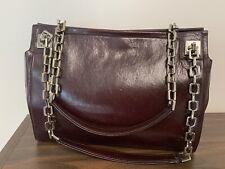 Vintage Authentic Bally Burgundy Oxblood Leather Handbag Chain Handle