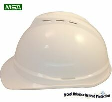 "MSA Cap Style Advance Vented V-Gard Hard Hat ""WHITE"" With Ratchet Susp"