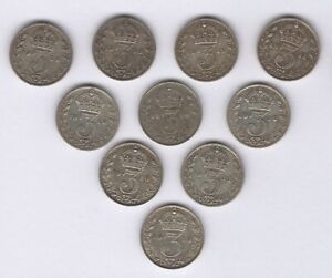 1911-1919 George V Silver Threepence Coin Date Run   Bulk Coins   Pennies2Pounds