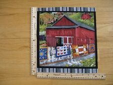 Country Life Quilt Barn Geese Flowers Crops Blank Cotton Quilt Fabric Block