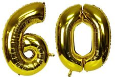 """40"""" Large 60 Gold Number Balloons 60th Birthday Anniversary Foil Float Helium"""