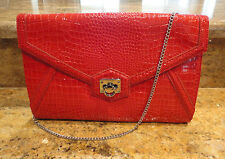 White House Black Market Red Clutch Purse Shoulder Bag Crocodile Envelope New!