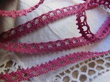 ancienne dentelle vintage en coton rose violine 3 métres sur 0,9 cm