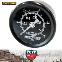 "Aeroflow Black 0 - 15 PSI Liquid Filled Carb Fuel or Oil Pressure Gauge 1/8"" NPT"