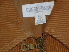 QUEENS PK BeigeCottonNeedleCordFrontZipJkt Size16 as NEW