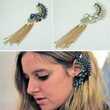 Boho Long Tassels Ear Cuff Earring Rhinestone Big No Pierced Clips Crawler Studs