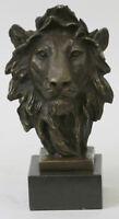 Hot Cast Signed Bronze Royal Lion Statue Sculpture Bust Marble Base Figurin GIFT