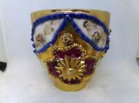 Antique Cup Made In Germany ~ Heavy Raised Beaded & Flora Decoration Gold Luster