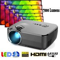 7000Lumen 1080P 3D Video Projector LED Home Cinema Multimedia HDMI/USB/SD/AV/VGA
