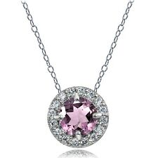 Sterling Silver Light Purple CZ and White Topaz Round Halo Necklace