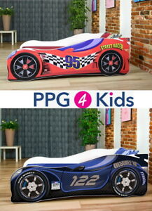 Racing Car Bed Speed 2 colours Childrens Boys Junior Bed with mattress 140x70cm