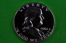 1961  Silver  Franklin Half Dollar  Brilliant  US GEM  PROOF (90% SILVER)